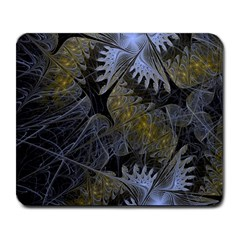 Fractal Wallpaper With Blue Flowers Large Mousepads