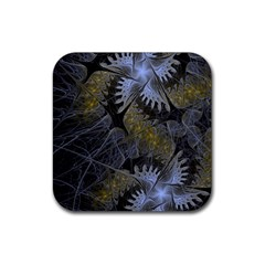 Fractal Wallpaper With Blue Flowers Rubber Square Coaster (4 Pack)  by Amaryn4rt