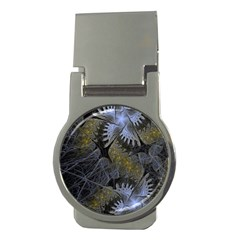 Fractal Wallpaper With Blue Flowers Money Clips (Round)