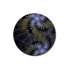 Fractal Wallpaper With Blue Flowers Rubber Coaster (round)  by Amaryn4rt