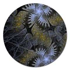 Fractal Wallpaper With Blue Flowers Magnet 5  (Round)
