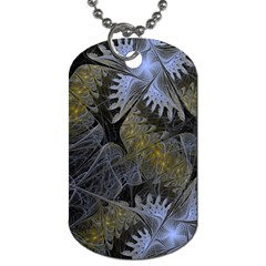 Fractal Wallpaper With Blue Flowers Dog Tag (two Sides) by Amaryn4rt