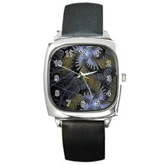 Fractal Wallpaper With Blue Flowers Square Metal Watch by Amaryn4rt