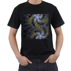 Fractal Wallpaper With Blue Flowers Men s T-Shirt (Black) (Two Sided)