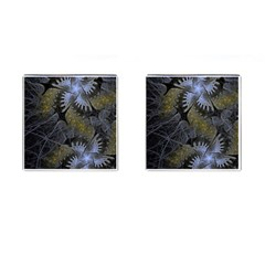 Fractal Wallpaper With Blue Flowers Cufflinks (Square)