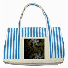Fractal Wallpaper With Blue Flowers Striped Blue Tote Bag by Amaryn4rt