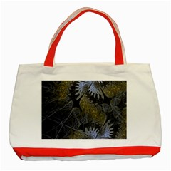 Fractal Wallpaper With Blue Flowers Classic Tote Bag (red) by Amaryn4rt