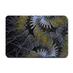 Fractal Wallpaper With Blue Flowers Small Doormat  by Amaryn4rt