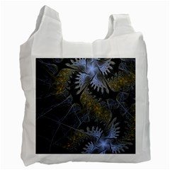 Fractal Wallpaper With Blue Flowers Recycle Bag (Two Side)