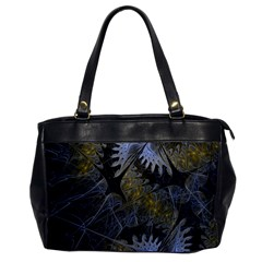 Fractal Wallpaper With Blue Flowers Office Handbags