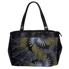 Fractal Wallpaper With Blue Flowers Office Handbags (2 Sides)  by Amaryn4rt