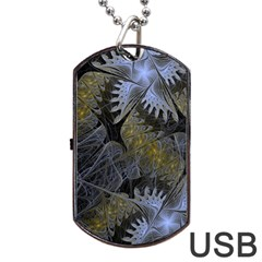 Fractal Wallpaper With Blue Flowers Dog Tag Usb Flash (two Sides) by Amaryn4rt