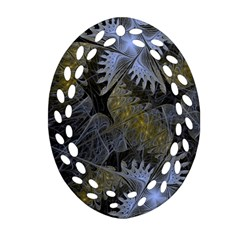 Fractal Wallpaper With Blue Flowers Ornament (Oval Filigree)