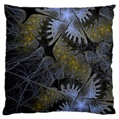 Fractal Wallpaper With Blue Flowers Large Cushion Case (Two Sides)