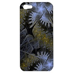 Fractal Wallpaper With Blue Flowers Apple Iphone 5 Hardshell Case by Amaryn4rt