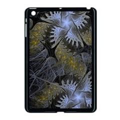 Fractal Wallpaper With Blue Flowers Apple iPad Mini Case (Black)