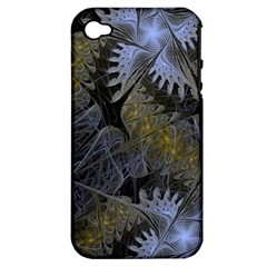 Fractal Wallpaper With Blue Flowers Apple Iphone 4/4s Hardshell Case (pc+silicone) by Amaryn4rt