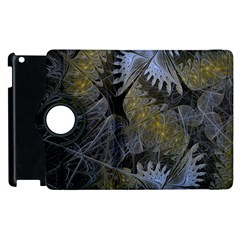 Fractal Wallpaper With Blue Flowers Apple iPad 3/4 Flip 360 Case