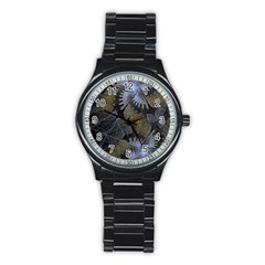 Fractal Wallpaper With Blue Flowers Stainless Steel Round Watch by Amaryn4rt