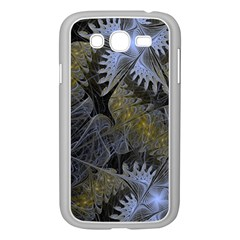 Fractal Wallpaper With Blue Flowers Samsung Galaxy Grand Duos I9082 Case (white) by Amaryn4rt