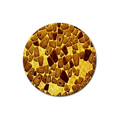 Yellow Cast Background Rubber Round Coaster (4 Pack)  by Amaryn4rt