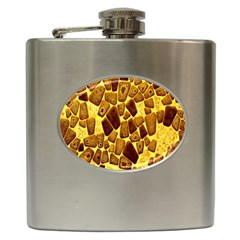 Yellow Cast Background Hip Flask (6 Oz) by Amaryn4rt