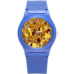 Yellow Cast Background Round Plastic Sport Watch (s) by Amaryn4rt