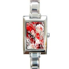 Red Fractal Art Rectangle Italian Charm Watch by Amaryn4rt
