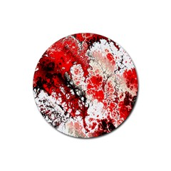 Red Fractal Art Rubber Coaster (round)  by Amaryn4rt