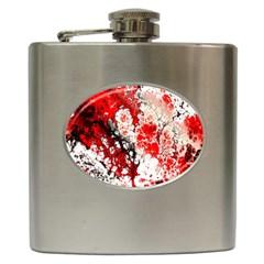 Red Fractal Art Hip Flask (6 oz)