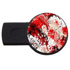 Red Fractal Art Usb Flash Drive Round (2 Gb) by Amaryn4rt