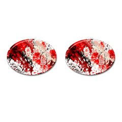 Red Fractal Art Cufflinks (oval) by Amaryn4rt