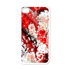 Red Fractal Art Apple Iphone 4 Case (white) by Amaryn4rt