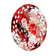 Red Fractal Art Oval Filigree Ornament (two Sides) by Amaryn4rt