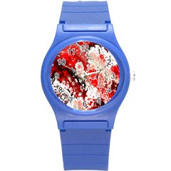 Red Fractal Art Round Plastic Sport Watch (s) by Amaryn4rt