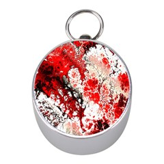 Red Fractal Art Mini Silver Compasses by Amaryn4rt