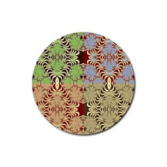 Multicolor Fractal Background Rubber Coaster (round)  by Amaryn4rt