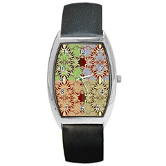 Multicolor Fractal Background Barrel Style Metal Watch by Amaryn4rt
