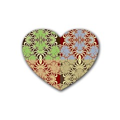 Multicolor Fractal Background Rubber Coaster (heart)  by Amaryn4rt