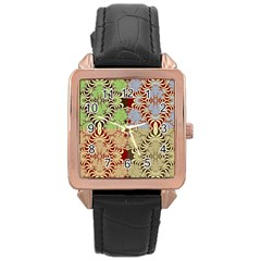 Multicolor Fractal Background Rose Gold Leather Watch  by Amaryn4rt