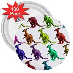 Multicolor Dinosaur Background 3  Buttons (100 Pack)  by Amaryn4rt