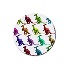 Multicolor Dinosaur Background Rubber Coaster (round)  by Amaryn4rt