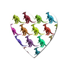 Multicolor Dinosaur Background Heart Magnet by Amaryn4rt