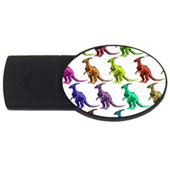 Multicolor Dinosaur Background Usb Flash Drive Oval (4 Gb) by Amaryn4rt