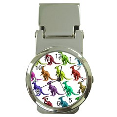 Multicolor Dinosaur Background Money Clip Watches by Amaryn4rt