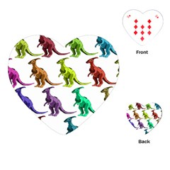 Multicolor Dinosaur Background Playing Cards (heart)  by Amaryn4rt