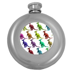 Multicolor Dinosaur Background Round Hip Flask (5 Oz) by Amaryn4rt