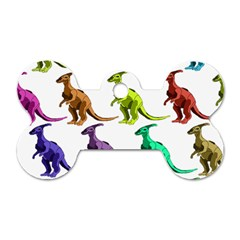 Multicolor Dinosaur Background Dog Tag Bone (one Side) by Amaryn4rt