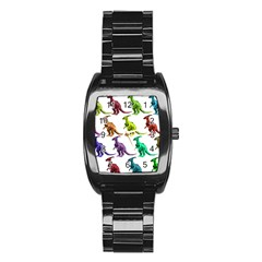 Multicolor Dinosaur Background Stainless Steel Barrel Watch by Amaryn4rt