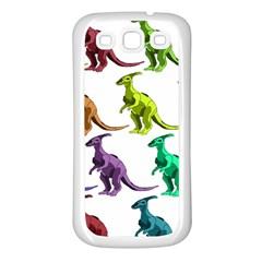 Multicolor Dinosaur Background Samsung Galaxy S3 Back Case (white) by Amaryn4rt